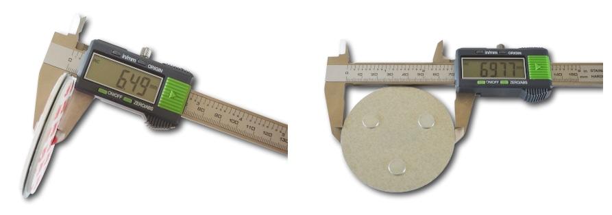 Magnetbefestigung Durchmesser und Höhe