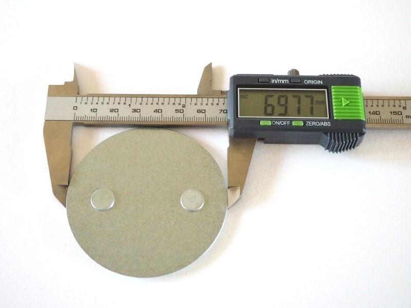 Durchmesser der Smartwares Magnetbefestigung in Standard-Größe: 69,77mm