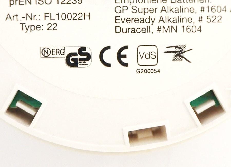 VdS Zeichen mit EN 14604 und CE Kennzeichnung