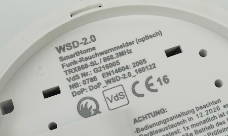VdS und Q Kennzeichnung des innogy WSD 2.0 Rauchmelders