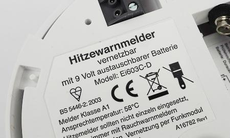 Hinweise und Zertifizierung des Ei603c Hitzemelders