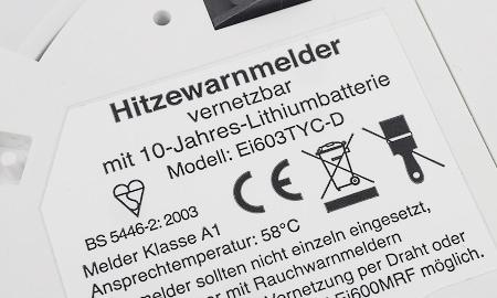 Zertifizierung und Hinweis auf Batterie des Ei603TYC