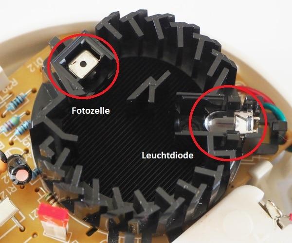 Rauchkammer Leuchtdiode und Fotozelle