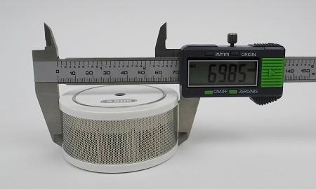 Durchmesser des Abus Mini-Rauchmelders GRWM30600 an der breitesten Stelle