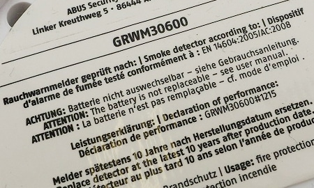 Kennzeichnungen des Abus GRWM30600 Mini-Rauchmelders
